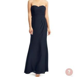 Navy strapless dress w/sweetheart top